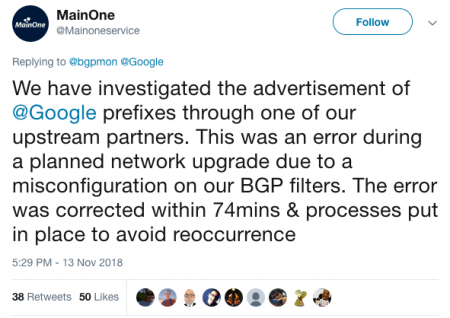 Route Leak Causes Major Google Outage